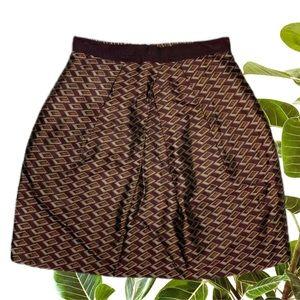 CUE Size 8 Diamond Print A-Line Pleated Skirt
